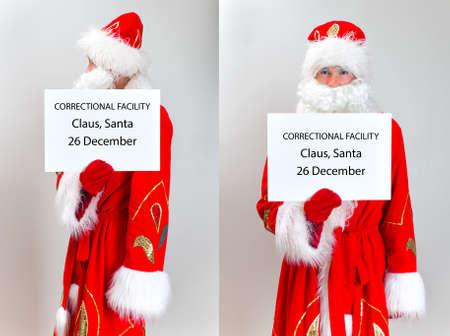 incarcerated: Santa Claus Mugshot. Santa is holding name board template.