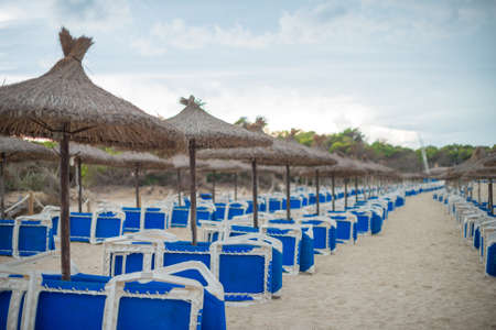 idling: Plenty of sun loungers on the beach.
