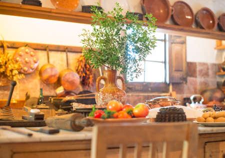 kitchen spanish: Interior of an old spanish kitchen. Stock Photo