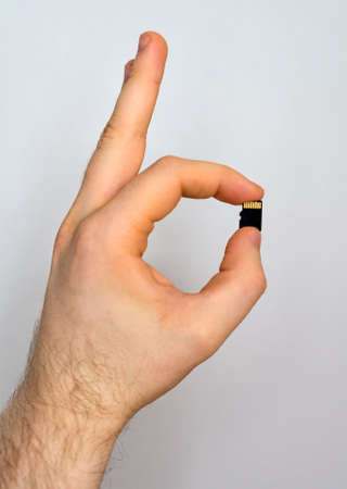 sd: Male hand holding Micro SD card.
