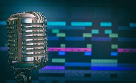 estudio de grabacion: Micrófono retro sobre fondo software de grabación. Foto de archivo