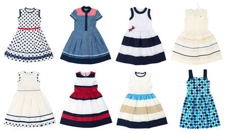 Girls dresses isolated on white background. Collage of eight photos.