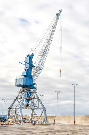 Harbor crane on rails in port. photo