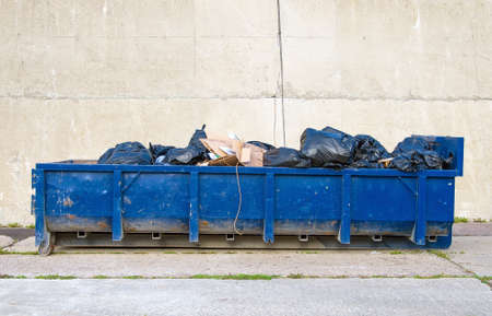 Blue garbage container on the road.