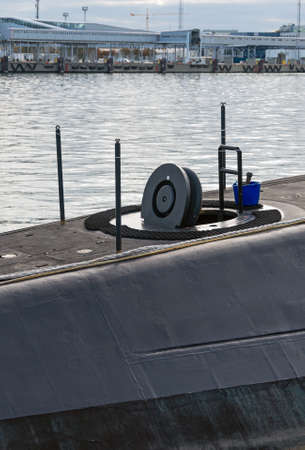 watertight: Open hatch in a submarine. Boat maintenance. Stock Photo