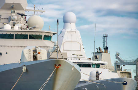 naval: Close-up view of three naval ships. Stock Photo
