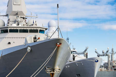 naval: Close-up view of naval ships with guns. Stock Photo