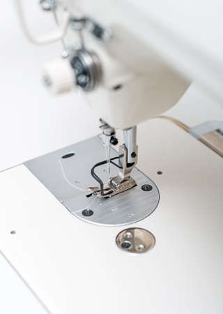 Close-up view of sewing machine. photo