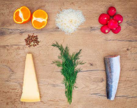 tabletop: Food ingredients on wooden tabletop. Top view.