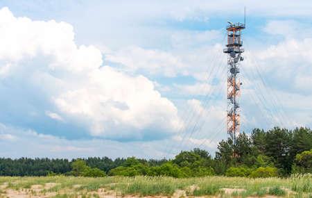 border patrol: Military watch tower near border of Estonia and Russia. Stock Photo