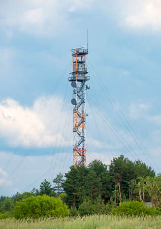 outpost: Military watch tower near border of Estonia and Russia. Stock Photo