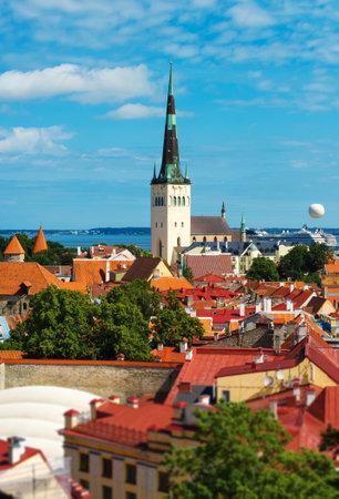 tallinn: Summer view of old city. Estonia, Tallinn.