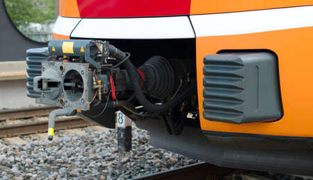 Close-up view of modern train coupler.