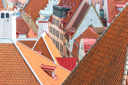 town houses: Red roofs in the old city.