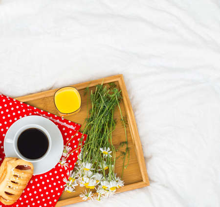 breakfast in bed: Breakfast in bed. Top view. Place for text. Stock Photo