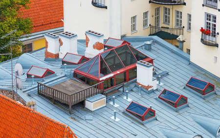 rooftiles: Top view of terrace on the rooftop.