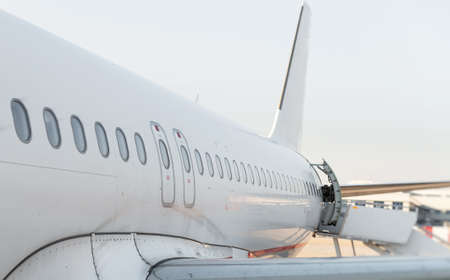private parts: Passenger aircraft windows. View from outside. Stock Photo