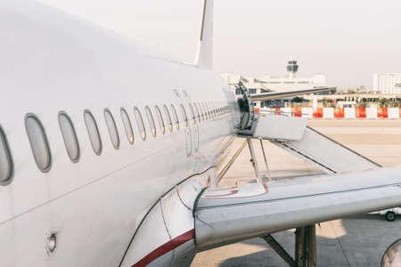 passenger aircraft: Passenger aircraft windows. View from outside. Stock Photo