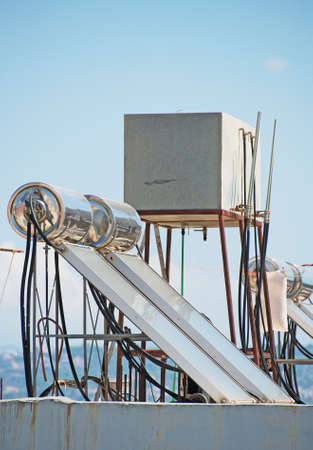 solar heating: Solar water heating system on the rooftops.