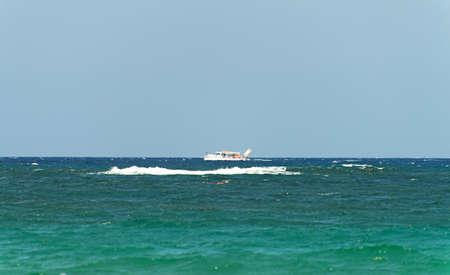 touristic: Peaceful ocean landscape with touristic ship.