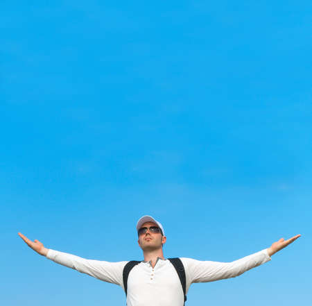 arms wide open: Man with arms wide open. Freedom concept. Place for text.
