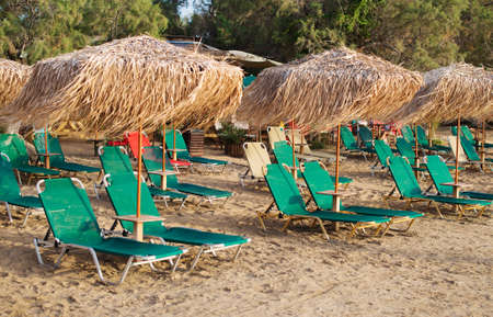 loungers: Plenty of sun loungers on the beach.