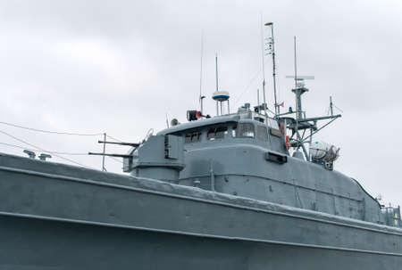deck cannon: Patrol ship with radar and gun. Stock Photo