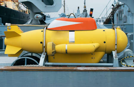 Unmanned underwater vehicle on the ship.