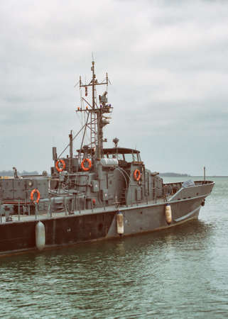 coast guard: Coast Guard vessel patrolling the sea.