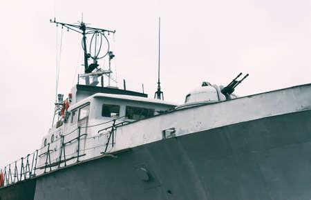 Patrol ship with radar and gun. Stock Photo