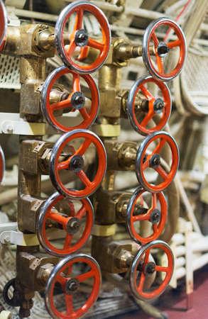 wojenne: Air engine inside of submarine. Zdjęcie Seryjne