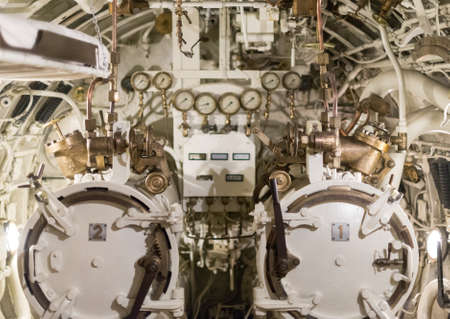 detailed view: Detailed view of torpedo room in submarine. Stock Photo