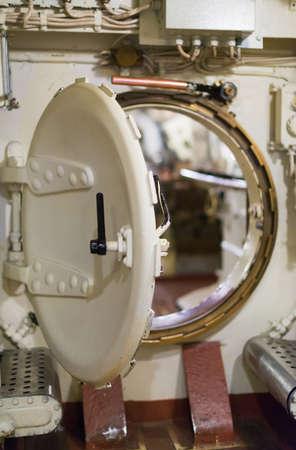 bulkhead: Inside of submarine. Round bulkhead door.