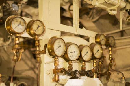 wojenne: Detailed view of many manometers inside of submarine.