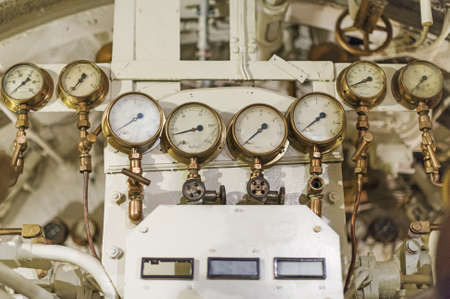 detailed view: Detailed view of many manometers inside of submarine.