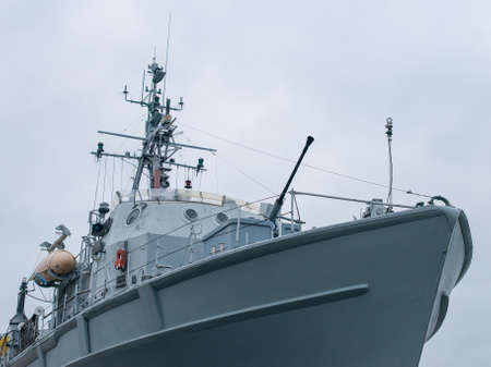 coastguard: Patrol ship with radar and gun. Stock Photo