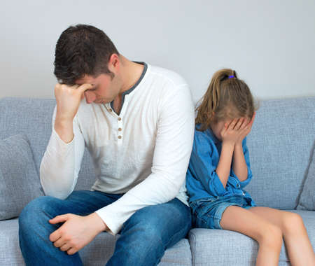 man scolding: Father and daughter are in quarrel. Stock Photo