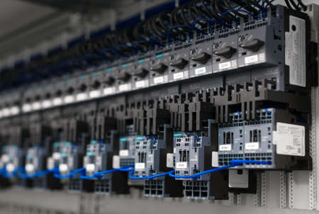 Close-up view of industrial contactors at factory.