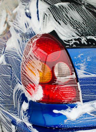 carwash: lavado de coches en el servicio autom�tico de lavado de coches. Foto de archivo