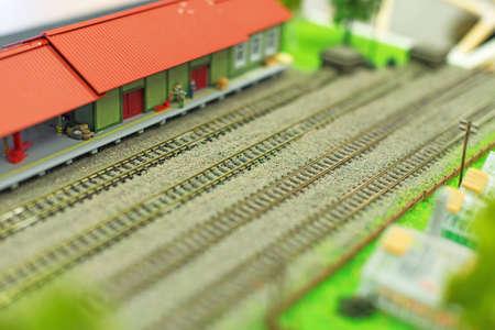 railroad station: City in miniature. Empty railroad station.