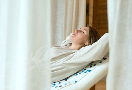 hamam: Pretty woman relaxing in spa after massage.