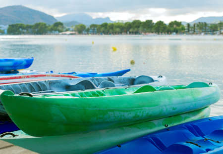Kayaks for rent near the sea. Stock Photo