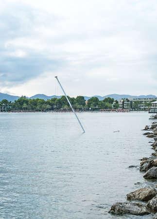 Sunken luxury yacht near the coast.