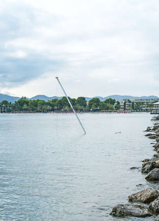the sunken: Sunken luxury yacht near the coast.