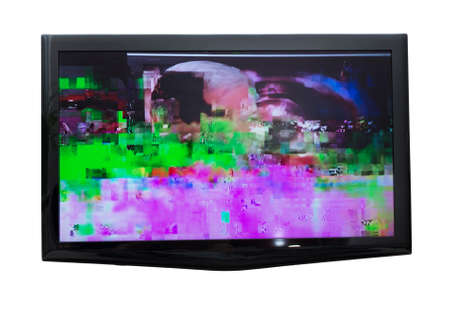 Bad digital signal on TV. Isolated on white.