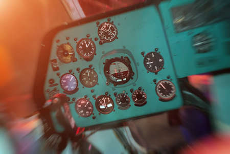 Control panel inside the Soviet helicopter.