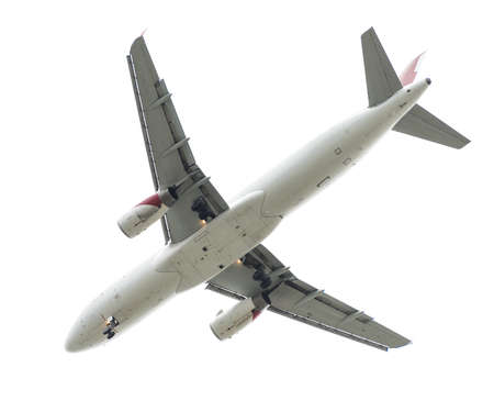 jetliner: Jet plane flying. Isolated on white.