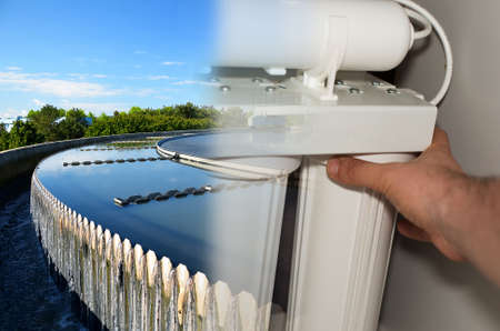 Water purification filter and wastewater treatment plant. Stock Photo