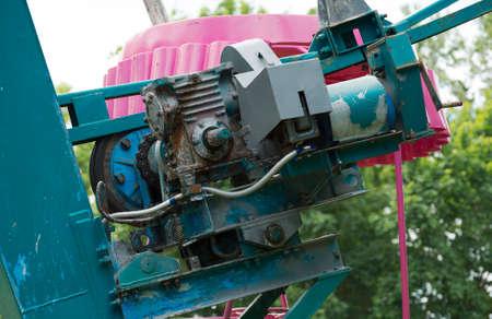 ferriswheel: Old engine of ferris wheel in the city park.
