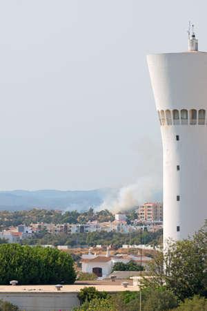 fireplace: Fire in Portim?o city in Portugal.